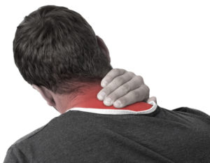 Young man holding his neck muscle in pain
