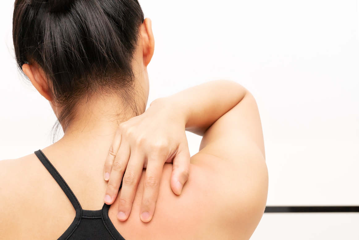 young women neck and shoulder pain injury, healthcare and medica