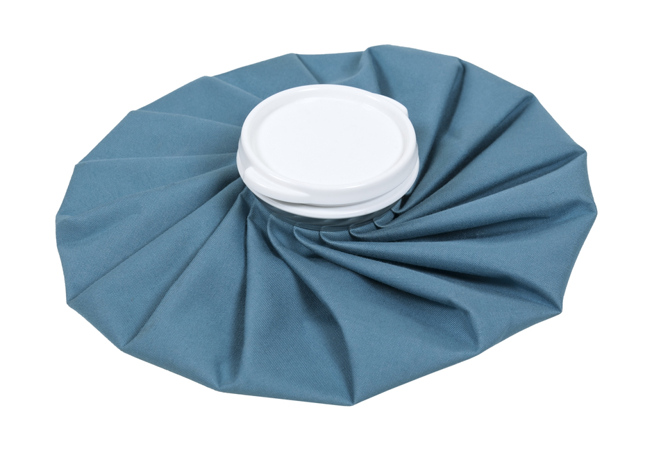 Retro pleated blue ice pack for first aid use - path included